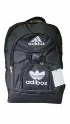 Polyester Plain Black Printed School Bag