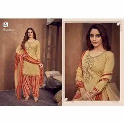 Embroidery Thread Work Rayon Suit With Dupatta, Machine wash