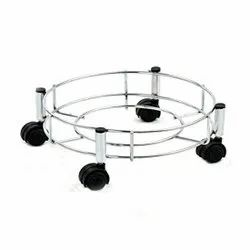 Stainless Steel Cylinder Gas/LPG Trolley With Wheels (Silver)