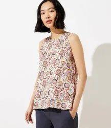 Ladies Printed Sleeveless Rayon Top, Size: S-XXL