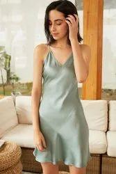 Women V Neck Silk Dress / Charmeuse Silk Cami Dress
