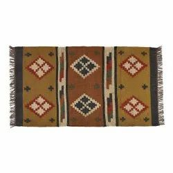 Multicolor Indian Wool Jute Rug, For Home