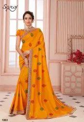 Yellow Color Desinger Silk Saree