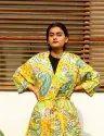 Yellow Paisley Short Kimono Robe