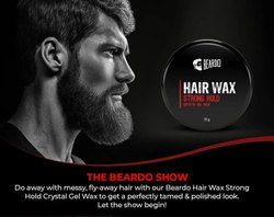 Beardo Hair Wax Strong Hold Crystal Gel Wax (75g)(MRP-275), For jairanjeetb2b, Packaging Size: 48 Pcs Par Box