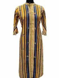 Banded Collar Straight Cotton Casual Wear Kurti, Size: S-XXL, Wash Care: Machine wash