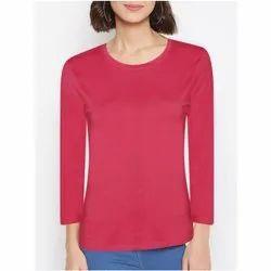 Maroon Daily Wear Ladies Round Neck Full Sleeve T Shirt