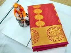 Festive Wear Red Pure Silk Saree, 6.3 m (with blouse piece)