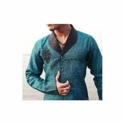 Printed Green Party Wear Linen Shirts, Size: Xl