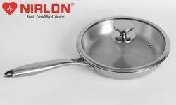 24cm Nirlon Platinum Tri-ply Stainless Steel Frying Pan with Glass Lid