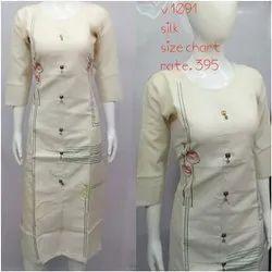 Straight 3/4th Sleeve Ladies Casual Wear Printed Silk Kurti, Wash Care: Handwash, Size: S To Xxl