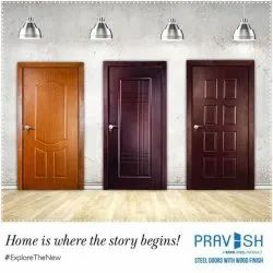 Polished Tata Pravesh Wooden Finish Steel Door, For Residential and Commercial