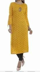 Cotton Party Wear Embroidered Kurti, Wash Care: Dry clean
