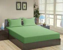 Satin Stripe Dyed Green Bed Sheet