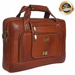 Plain Brown Leather Laptop Messenger Bag, Size: 15.5 X 11 X 3 Inch
