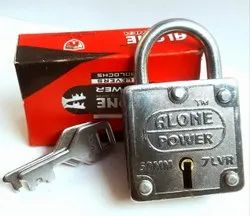 Alone With Key 50mm Square Padlock, Packaging Size: <10 Piece, Chrome