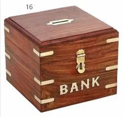 Brown Wooden Money Bank, Size/Dimension: 4x4x4 Inches