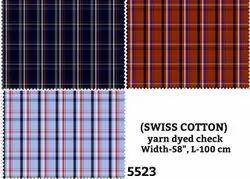 Swiss Cotton Yarn Dyed Check Shirting Fabric