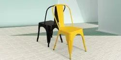 Black & Yellow Powder Coated Cafe Metal Tolix Chairs, Size: 45 X 45 X 75 Mm