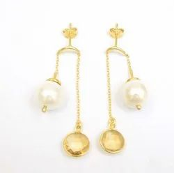 Fashionable Handmade New Design Hoop Earring with Pearl and Catrin Gemstone