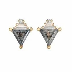 Real Diamonds Party Wear Salt And Pepper Moissanite Diamond Earrings With Baguettes, 0.35 Carat (each), 18 Kt