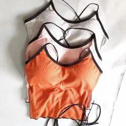 Cotton Plain Ladies Padded Sports Bra, For Inner Wear, Size: 34B