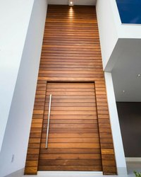 Brown Polished Aluminium HPL Sheet Door, For Home, Single
