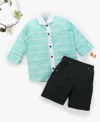 green Boy Kids Shirts & Shorts Sets