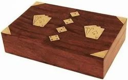 Brown Antique Wooden Double Card With Dice Box, For Home, Size: 8x5 Inches