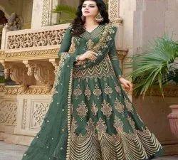 Chiffon Green Designer Party Wear Long Anarkali Suit, Dry clean
