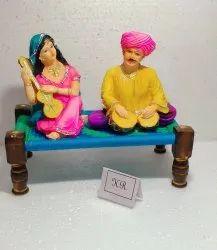 Resin & Wood Rajisthani Charpai Couple, Packaging Type: Box