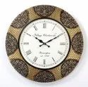 Analog Round Wooden And Brass Fitted Wall Clock, For Home, Size: 18x2x18 Inch