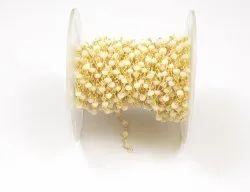 White Chalcedony  Beads Brass Handmade Rosary Chain