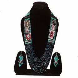 Handmade Turquoise Green Layered Necklace Earrings Set S-01-SB-27, Occasion: Party, Size: 14-15 Inch