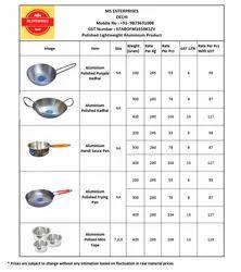 MS Enterprises Silver Aluminium Lightweight Kitchenware
