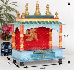 Wooden Hand Painted Home Temple, Size/Dimension: 15x8x18 Inch