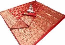 Leeza Store Jaal Work Designer Wedding Wear Banarasi Silk Saree, 5.2 m (separate blouse piece)