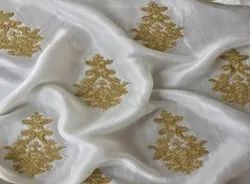 Uppada Silk Allover Embroidered Fabric-Dyeable