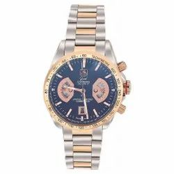 Men Round Carrera Calibre 17 Blue And Gold Dial Two Tone Watch, For Personal Use