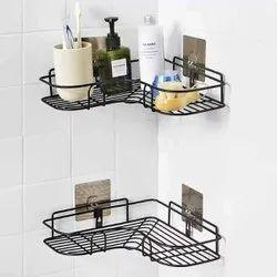Maitri Black Self-Adhesive Metal Bathroom Corner Rack Storage Shelves, For Home