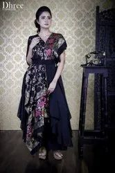 Printed Ladies Party Wear Drape Gown