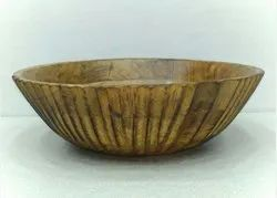 Table Top Brown Engraved Wooden Wash Basin, For Bathroom