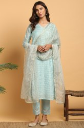Janasya Women''s Sky Blue Art Silk Kurta With Pant and Dupatta(J0284)