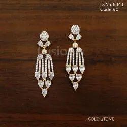Two Tone Polish American Diamond Earrings