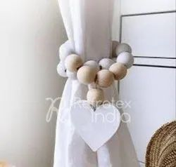 Wooden Bead With Heart Curtain  Tieback