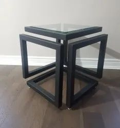 Metallic with Glass Top Cube Stand Table