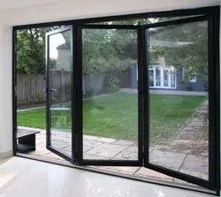 Black Aluminium Aluminum Folding Door, For Home