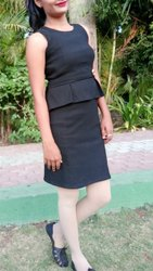 Black Ladies Office Wear Formal Dress, Size: Medium