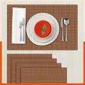 Pvc Rectangular Bathla Table Mat Set, 5 Mats