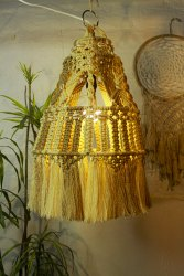 Boholiciouss Cotton 12x20 Inch Decorative Macrame Hanging Lamp